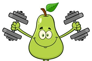 Green Pear Fruit With Dumbbells