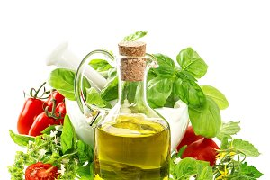 Olive oil, herbs and tomatoes