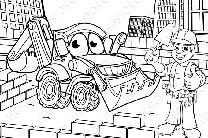 Construction Building Site Scene Coloring ~ Illustrations