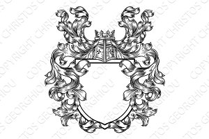Knight Heraldic Crest Coat of Arms Shield Emblem