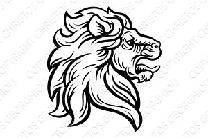 Woodcut Lion Head Profile Concept
