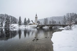 Church on the Bridge in the winter