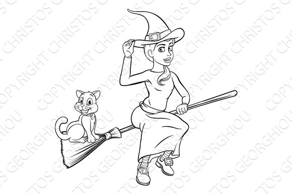 Cartoon Witch and Cat Flying on her Broomstick
