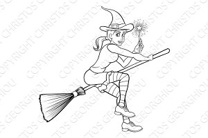 Cartoon Halloween Witch and Magic Wand