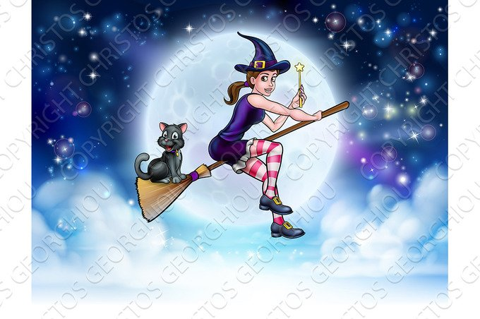 halloween witch and cat flying moon scene illustrations creative