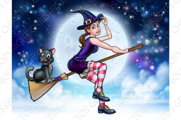 Halloween Witch and Cat Flying Moon Scene