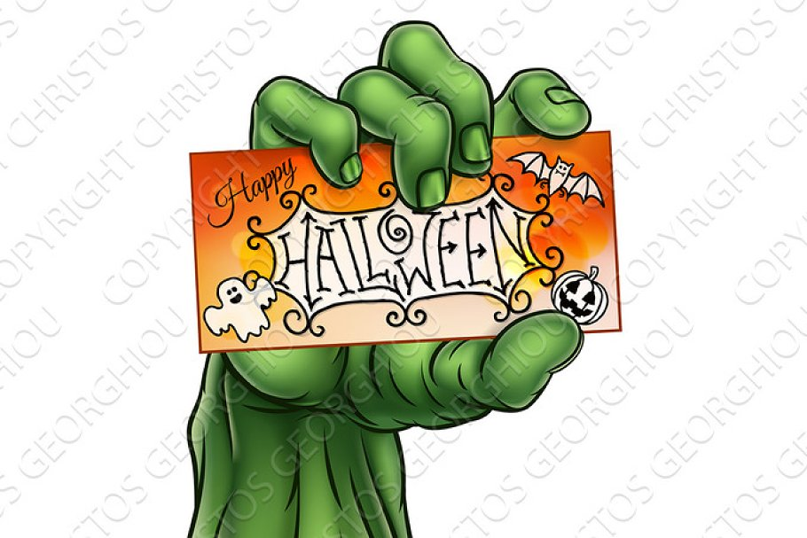 Happy Halloween Sign Monster Zombie Hand in Illustrations