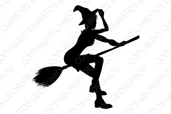 witch flying on broomstick halloween silhouette illustrations - Flying Halloween Witch