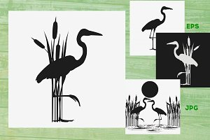Heron wirh reed black silhouette