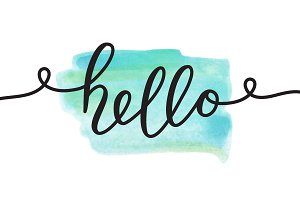 Hello, 6 watercolor cards