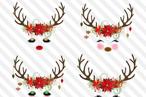 Christmas Reindeer Faces