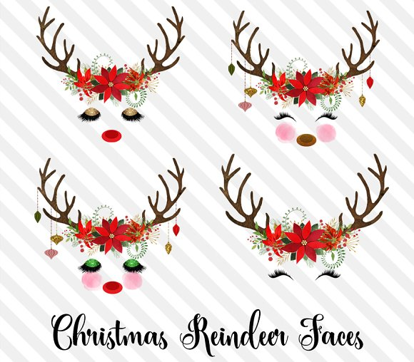 Christmas Reindeer Faces Illustrations Creative Market