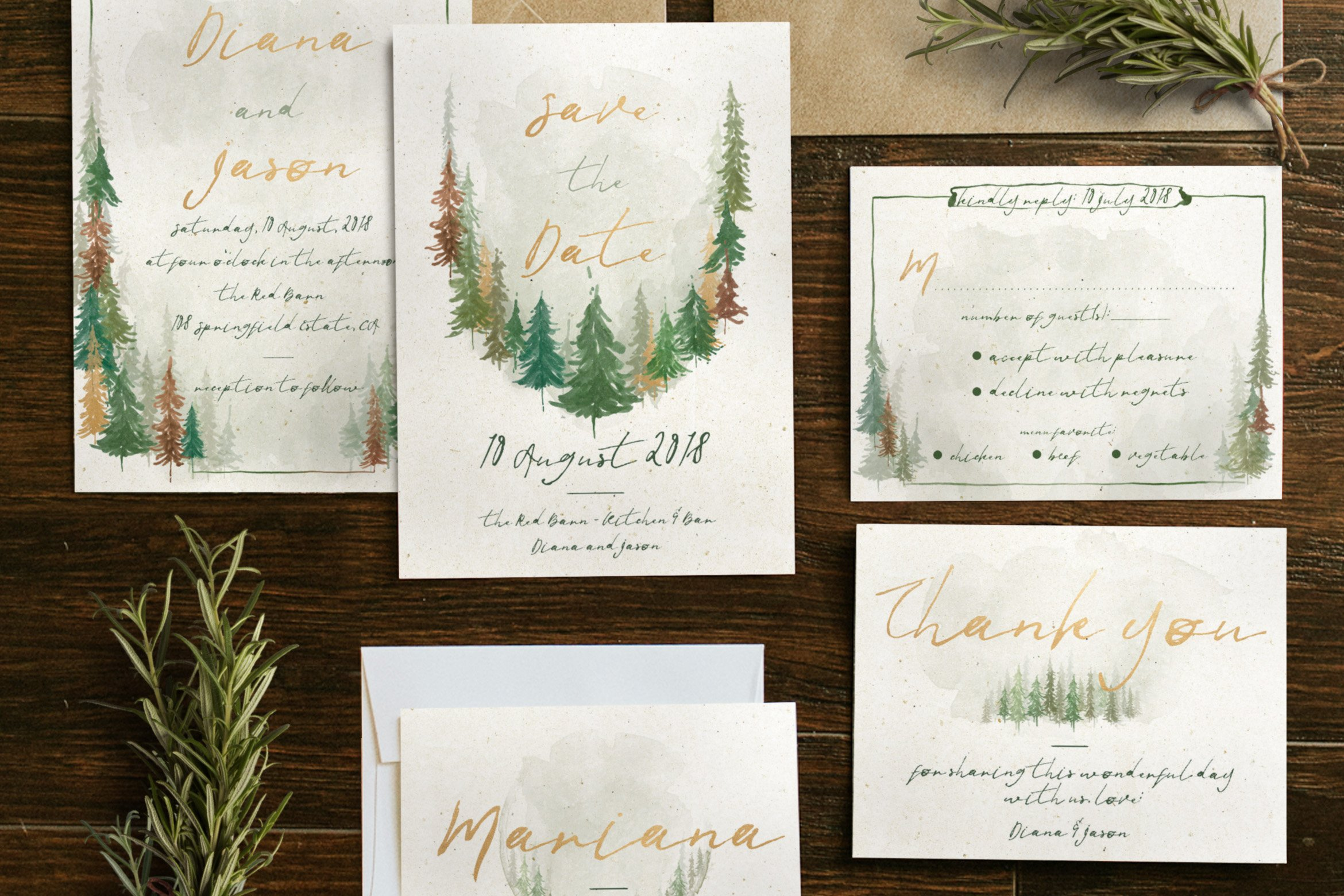 Wedding Invite Email Template: Watercolor Forest Wedding Suite