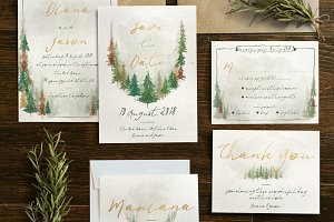 Watercolor Forest Wedding Suite