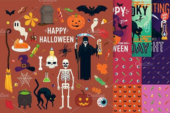 Flat Halloween Vector Kit
