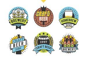 9 Line art craft beer logotypes