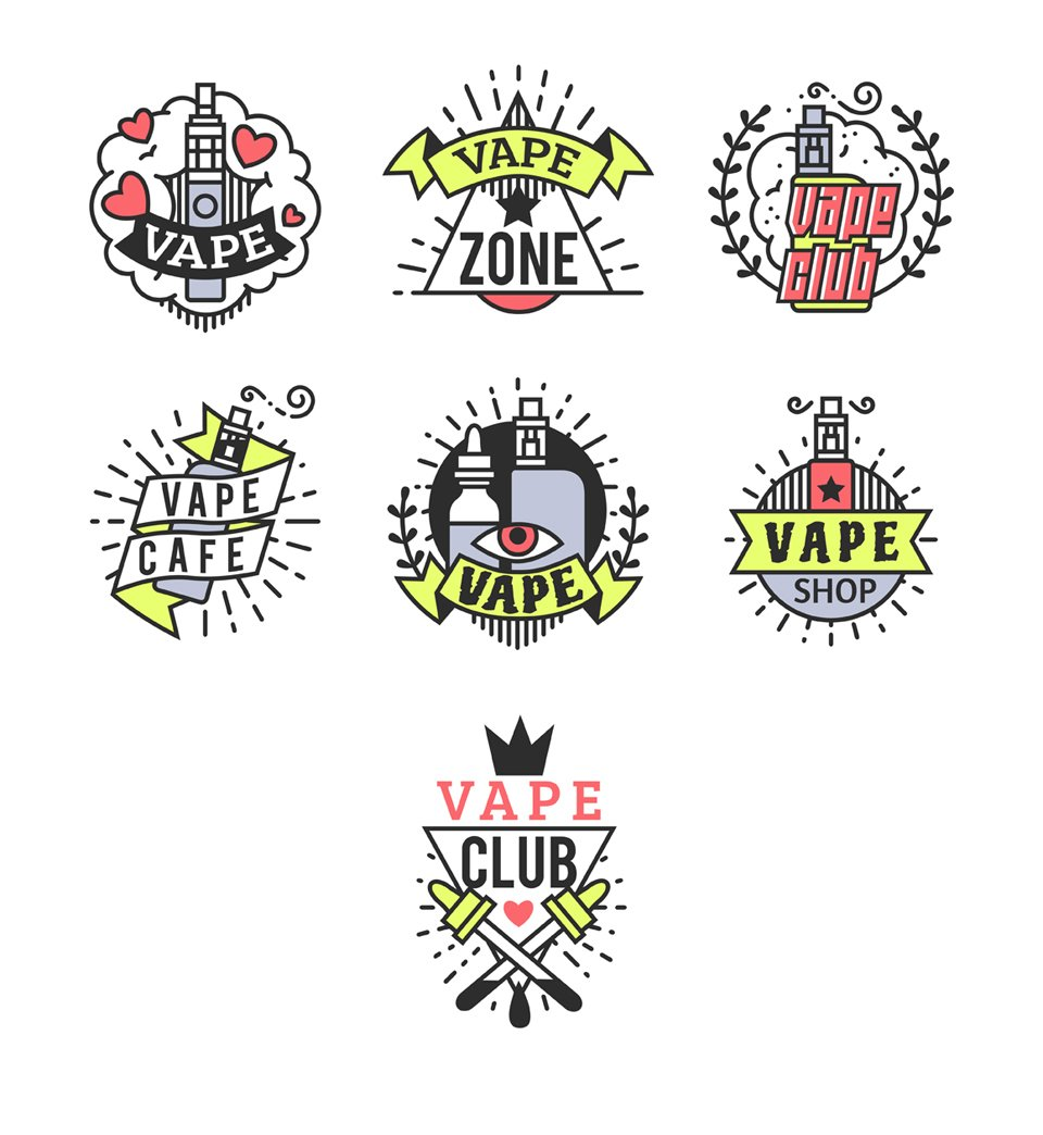 Line Art Vape Logotypes Objects Creative Market - Makeup artist invoice template free online vapor store