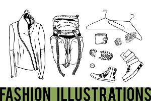 Set of fashion illustrations