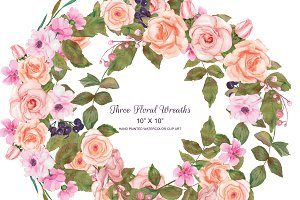 Blush & Gold Rose Wreath Set