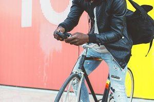 young man with fixed gear bicycle.