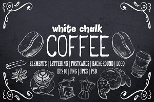 Coffee & Dessert White Chalk Clipart