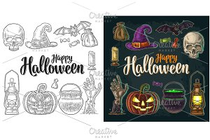 Halloween pumpkin with scary face. Vector vintage engraving illustration.