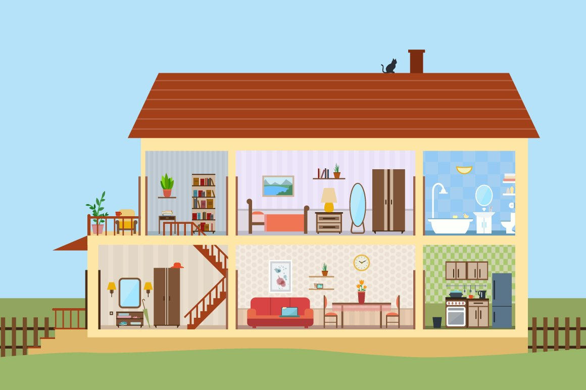 Big house inside with icons set illustrations creative for Big houses inside