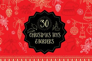 30 Christmas objects.Toys & borders.