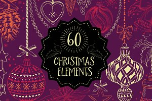 60 Christmas doodle elements