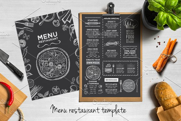 blackboard menu bundle brochure templates creative market