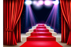 Showroom with red carpet. Vector