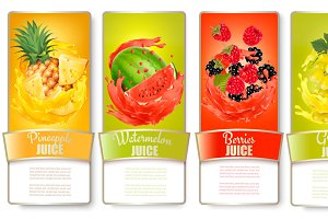 Labels with fruit in juice splash