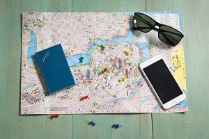 Planning a trip with a map