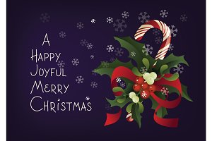 Christmas seasonal greeting card with candy cane. A Happy Joyful Merry Christmas