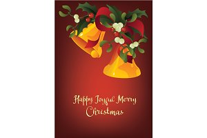 Christmas seasonal greeting card A Happy Joyful Merry Christmas and Jingle bells
