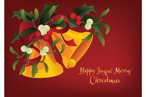 Christmas seasonal greeting card A Holly Jolly Merry Christmas and jingle bells