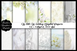 White Wedding Unique Digital Papers