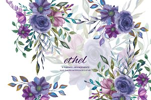 Watercolor Purple Floral Clip Art