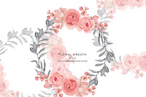 Blush & Gray Rose Wreath Clip Art