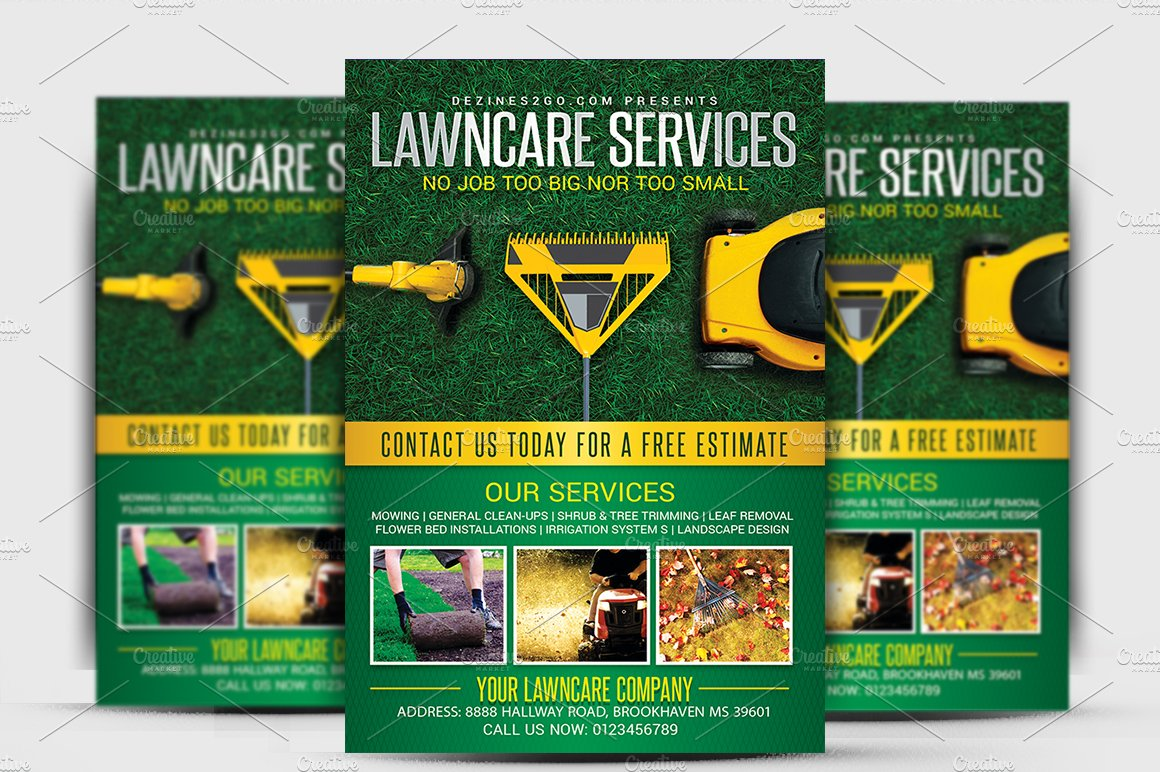 Lawn garden care flyer template flyer templates for Garden maintenance flyer template