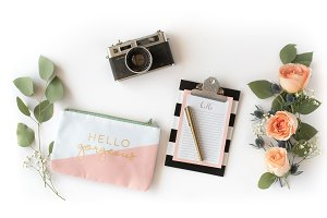White Pink Floral Flat Lay