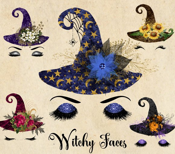 Witchy Faces Clipart