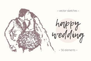 Big set of wedding illustrations