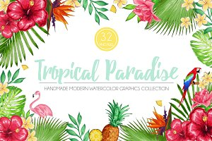 Tropical Paradise Graphics Set