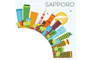 Sapporo Skyline with Color Buildings