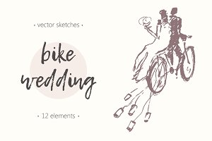 Bicycle themed wedding illustrations