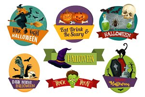 Halloween vector icons for party greeting