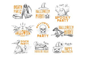 Halloween vector sketch icons for holiday party
