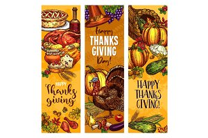 Thanksgiving day sketch vector greeting banners