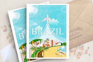 Brazil. Travel vector poster